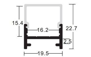 0002869 profilo in alluminio 20x23mm 2 metri