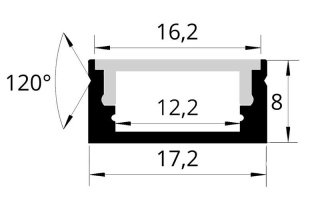 0002599 profilo in alluminio ossidato nero 17x8mm 2 metri