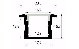 0002533 profilo in alluminio da incasso 23x15mm 2 metri