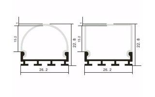 0002538 profilo in alluminio largo 26mm 2 strip 2 metri