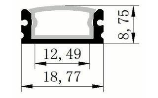 0002526 profilo in alluminio 9x19mm waterproof con anima interna in alluminio 2 metri