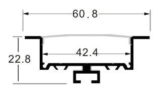 0002684 profilo in alluminio da incasso 60x23mm 2 metri