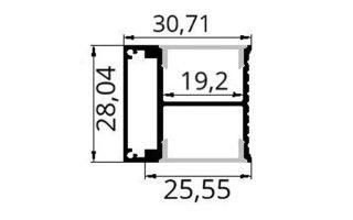 0002604 profilo in alluminio da parete 31x28mm 2 metri