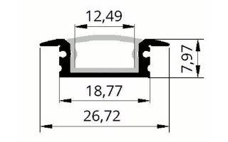 0002525 profilo in alluminio 8x27 da incasso waterproof con anima interna in alluminio 2 metri