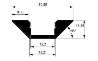 0002549 profilo in alluminio angolare con diffusore 2 metri
