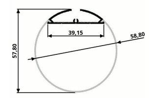 0002540 profilo in alluminio tondo diametro 58mm 2 strip 2 metri