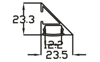 0002841 profilo in alluminio da parete 23x23mm 2 metri