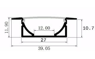 0002537 profilo in alluminio da incasso alto 39x12mm 2 metri