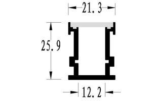 0002679 profilo in alluminio da incasso calpestabile per pavimento 26x21mm 2 metri