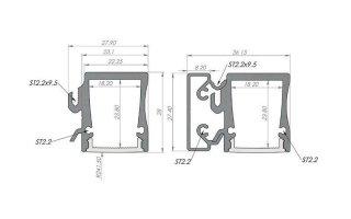 0002552 profilo in alluminio da parete versione slim line wide 20b 27x28mm con diffusore 2 metri