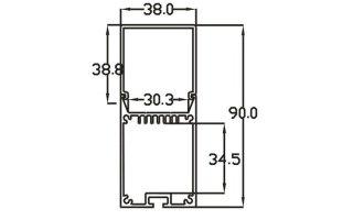 0002766 profilo in alluminio 38x90mm 2 metri