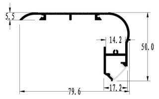 0002685 profilo in alluminio per gradini 80x50mm 2 metri