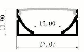 0002527 profilo in alluminio alto 12x27mm 2 metri