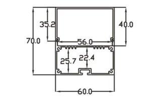 0002760 profilo in alluminio a c 60x70mm 3 metri