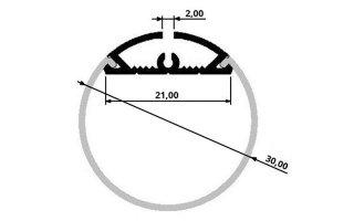 0002539 profilo in alluminio tondo diametro 30mm 2 metri