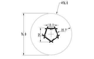 0002675 profilo in alluminio tondo diametro 76mm 2 metri