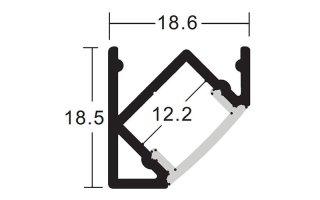 0002808 profilo in alluminio angolare vuoto 19x19mm 2 metri
