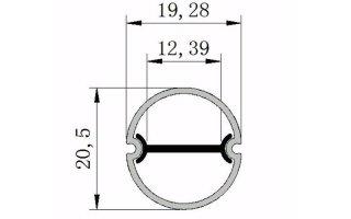 0002544 profilo in policarbonato tondo opaco con anima interna in alluminio waterproof 2 metri