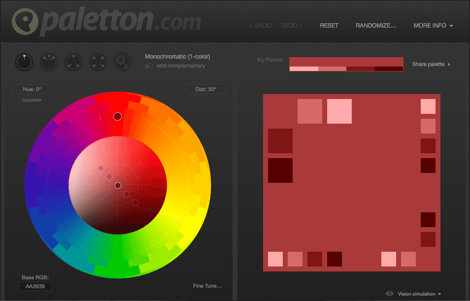Monochromatic Palette 5 free tools to create a website color palette