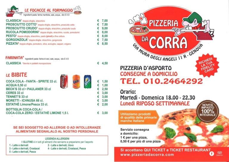 menù pizzeria da Corra