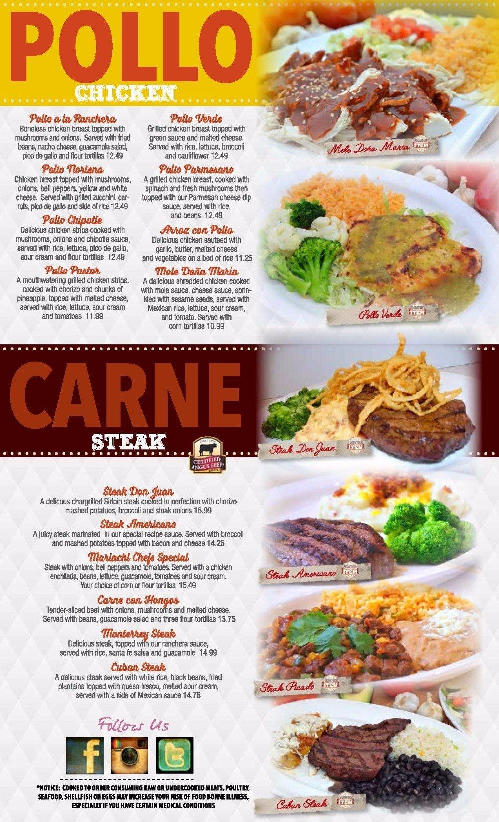 Pollo chicken and Carne steak