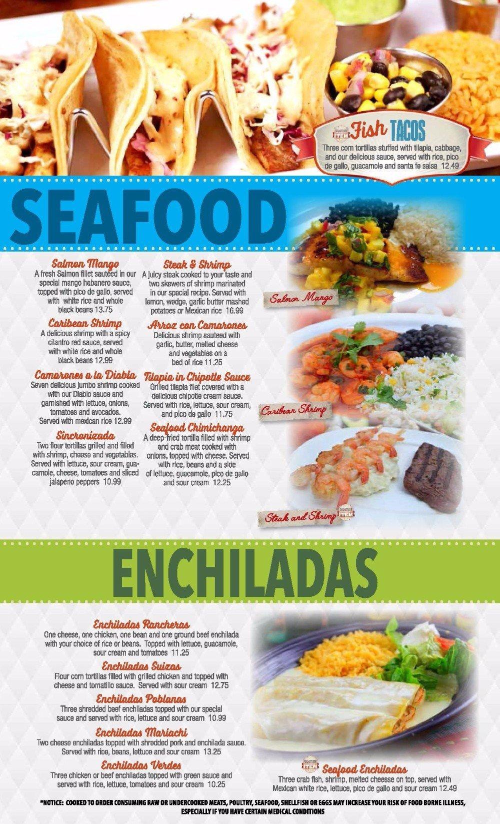 Seafood and Enchiladas menu