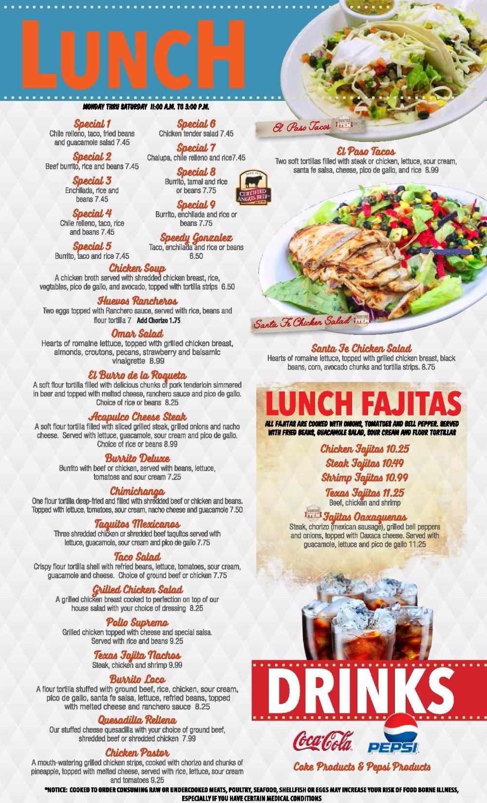 El Mariachi #2's lunch menu