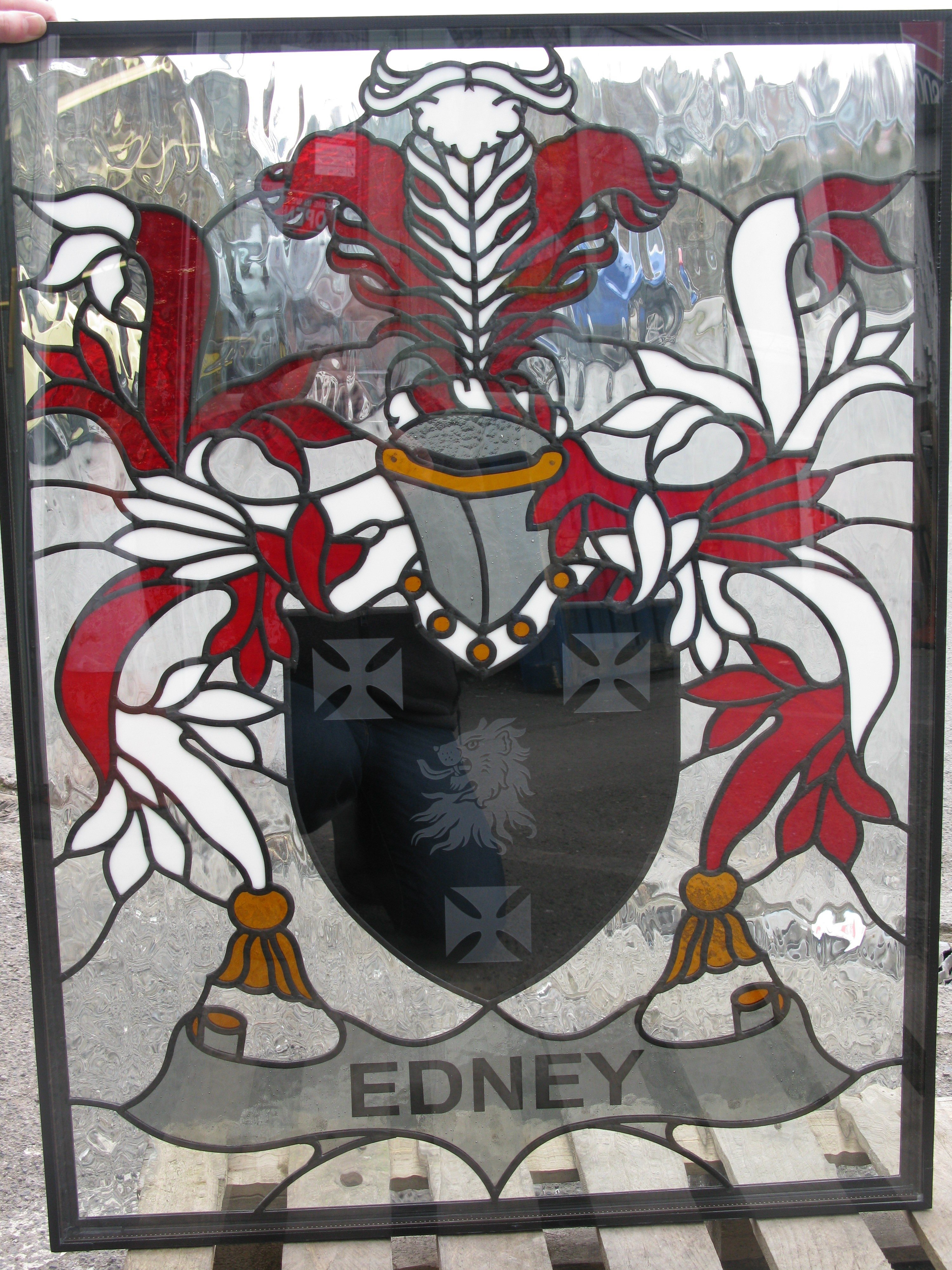 family crest stained glass window panel