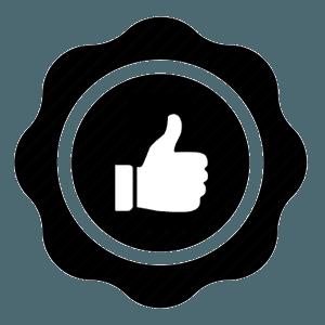 un logo nero con un pollice in su