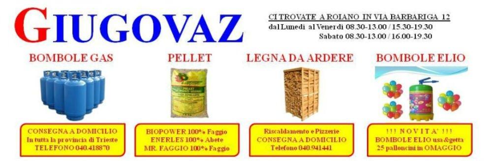 un'immagine con scritto Giugovaz, delle bombole del gas, pellet, legna da ardere,  bombole e elio