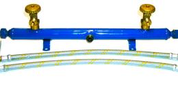 una barra blu con due valvole