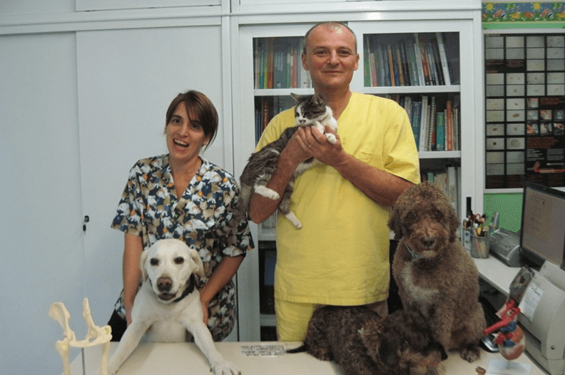 staff veterinario con cani e gatti