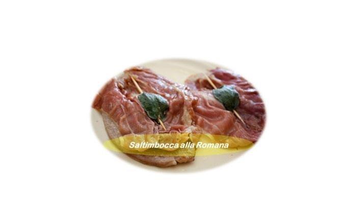 Saltimbocca alla romana: IlSaltimbocca(dasaltare in bocca) è un piatto italiano dellacucina romana(e presente anche nella cultura culinaria popolare nel sud dellaSvizzera,SpagnaeGrecia), fatta di carne divitellorivestito o condito conprosciuttocrudo (alcune volte condita conSpeck) esalvia, marinato nelvinobianco,olioo acqua salata a seconda della regione o il proprio gusto. Questo piatto è occasionalmente accompagnato anche dacapperi.Ne esiste una versione con cipolle, persino con carciofi nel ripieno.