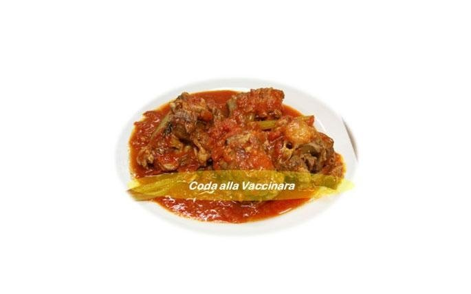 Coda alla Vaccinara: (Oxtail) Oxtail is a noble dish, even if it is the son of a  peasant cuisine. An oxtail should be cooked in a batter of fried bacon and oil, on which onion, garlic, cloves salt and pepper, white wine and then skinned tomatoes are poured. It is left to cook for at least four hours and then, before serving, according to tradition, a sauce made with raisins, pine nuts and grated dark chocolate is added. A dish undoubtedly regal.