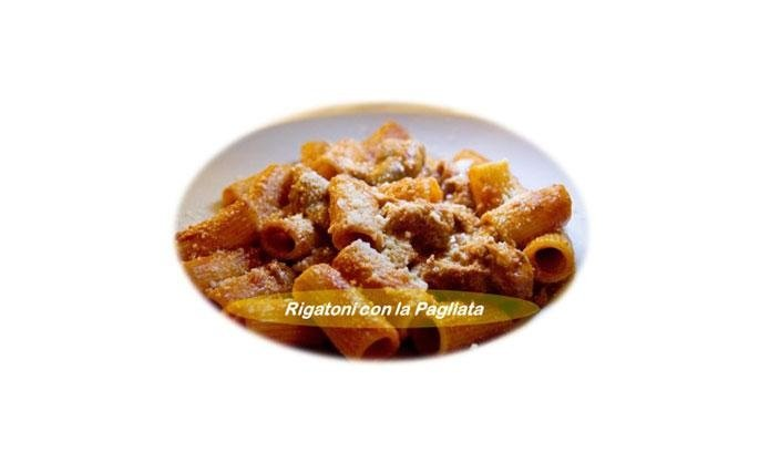Rigatoni with Pagliata: Rigatoni with pajata born as a dish appreciated by  the Scortichini, the workers of the old slaughterhouse in Testaccio who, at the end of the day, together with their miserable pay, received the so-called fifth quarter or scraps of slaughtered meat (innards, legs and tongue) . With their bags of meat, the Scortichini went to nearby taverns in the area and asked that the discarded parts of the animals be used to prepare hearty meals to feed their families. Thus was born the pajata, the traditional popular Roman dish now appreciated by gourmets and tourists who continue to be fascinated by the flavours of our city. Flavours which should continue to be handed down, in order not to lose touch with our roots.
