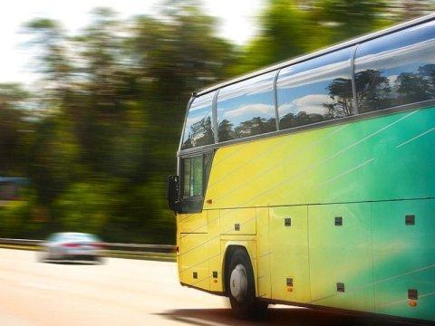 un pullman giallo e verde in viaggio su una strada