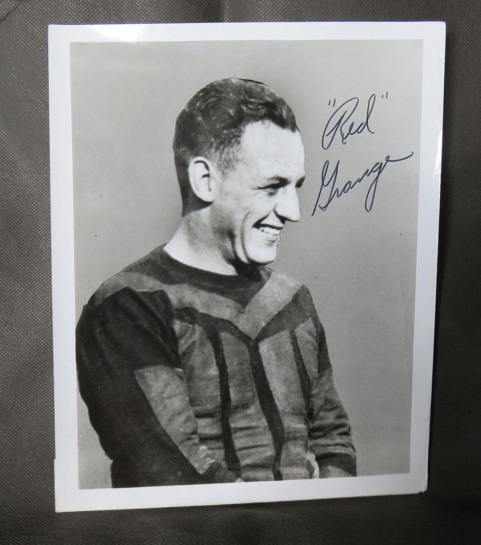 red grange signed photo