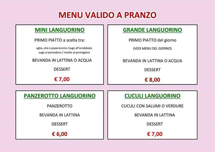 lista dei menù fissi per il pranzo della Gastronomia Languorino di Collegno