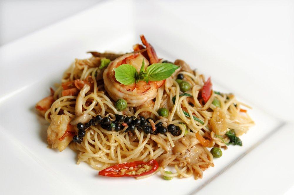 piatto di spaghetti ai frutto di mare