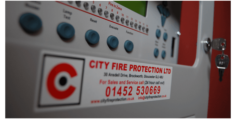 A fire alarm control panel supplied by City Fire Protection, Gloucester