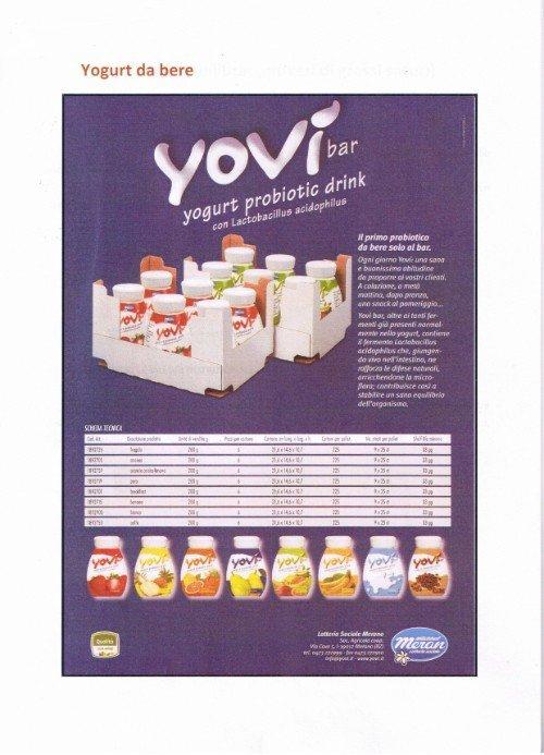 locandina dei prodotti Yovì, yogurt da bere disponibili nei distributori automatici