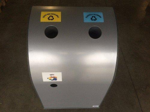 contenitore per la differenziata in metallo con due vani