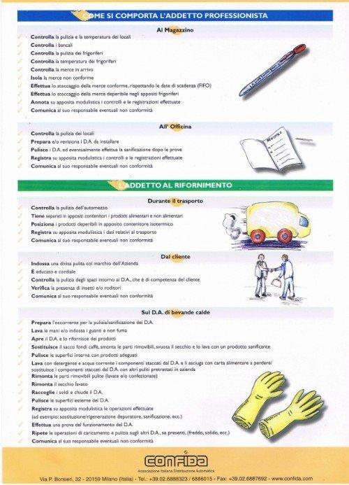 pagina di depliant sulle garanzie igieniche dei distributori installati