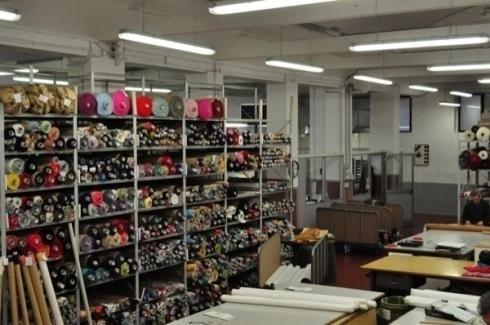 Shelves with fabrics