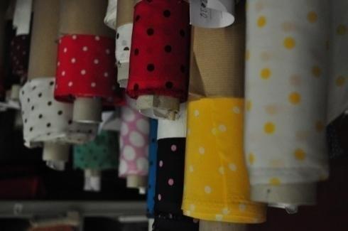 Red and yellow polka dot fabrics