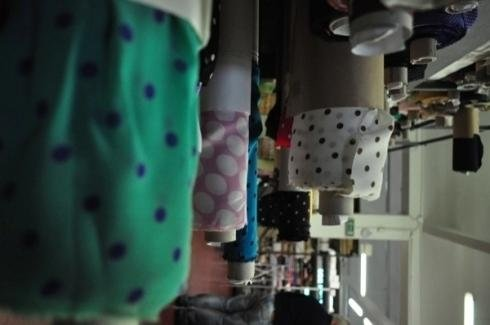 Polka dot fabrics in various colours