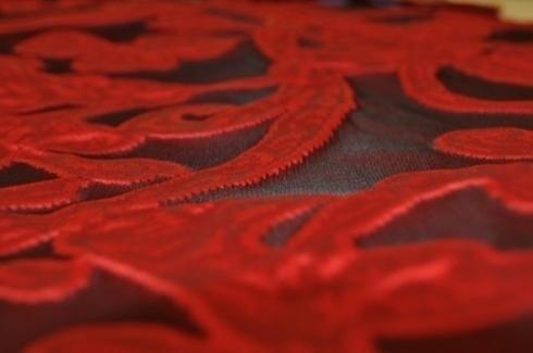 detalle tela con adornos rojos