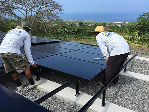 Solar panel being installed by expert contractors in Kailua-Kona, HI