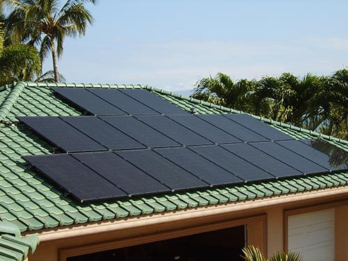 Solar panel installed on the roof of a house in Kailua-Kona, HI