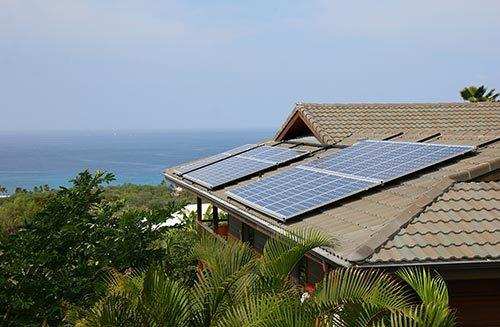 View of solar panel after maintenance in Kailua-Kona, HI